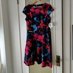 NWT Anne Klein Blue Multicolor Floral Career Dress